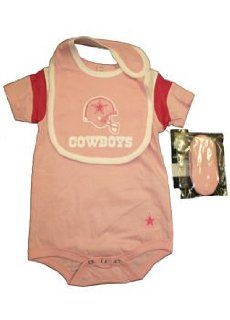 Dallas Cowboys Pink Baby Girl Basic Logo Onesie with Bib