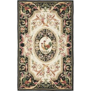 Hand hooked Rooster Ivory/ Black Wool Rug (53 x 83)