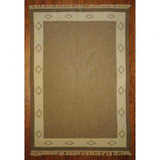 Indo Flatweave Kilim Ivory/ Beige Wool Rug (47 x 67)