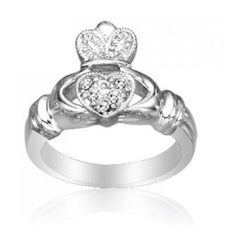 Bling Jewelry Sterling Silver Irish Celtic Pave CZ Friendship Claddagh