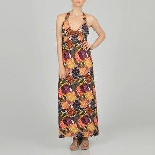 LA Gold Womens Brown Allover Floral Maxi Dress