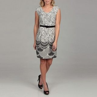 Spense Womens Black/ Ivory Print Belted Dress