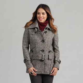 Nicole Miller Womens Herringbone Tweed Low Belted Coat