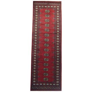 Pakistani Hand knotted Bokhara Red/ Ivory Wool Runner (28 x 8