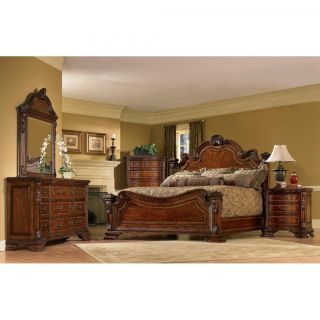 Queen size 4 piece Wood Estate Bedroom Set