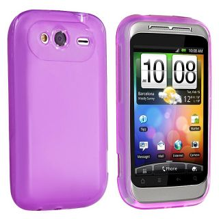 Clear/ Purple TPU Rubber Case for HTC Wildfire S