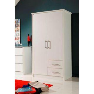 WHITE Armoire 2 portes 2 tiroirs   Achat / Vente ARMOIRE DE CHAMBRE