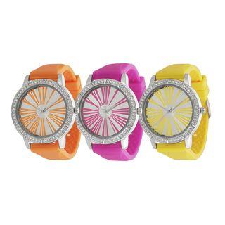 Geneva Platinum Womens Rhinestone Roman Numeral Neon Silicone Watch