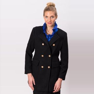 Grace Gallo New York Womens Christine Black Wool Blend Double