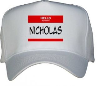 HELLO my name is NICHOLAS White Hat / Baseball Cap