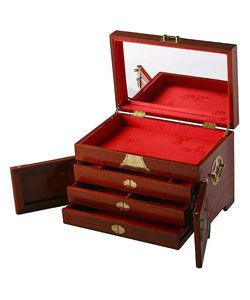 Mother of Pearl Inlay Plum Flower Red Wood Jewelry Box