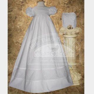Baby Girl White Bonnet Pintuck Lattice Christening Dress