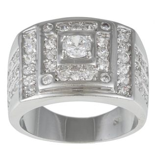 Kate Bissett Silvertone Clear Cubic Zirconia Fashion Ring MSRP $44.00
