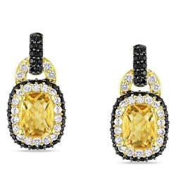 Yellow Silver Citrine, Spinel and Created Sapphire Earrings