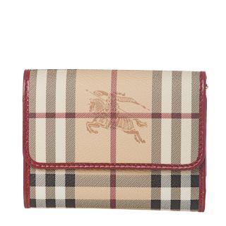 Burberry Haymarket Check Red Leather Bi fold Wallet