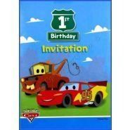 Disney Cars 1st Birthday Invitations Card 8ct Toys