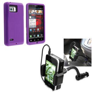 Purple Skin Case/ FM Transmitter for Motorola Droid Bionic XT875