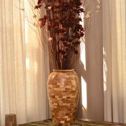 Reclaimed Teak Wood Accent Vase (Indonesia)