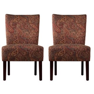 Portfolio Duet Emma Paisley Upholstered Armless Chairs (Set of 2