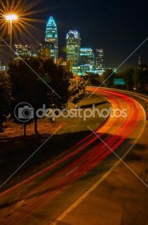 Charlotte the queen city financial district view from freeway  Foto