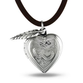 White Brass with Cord Hanging Leaf Charm Heart Locket Pendant