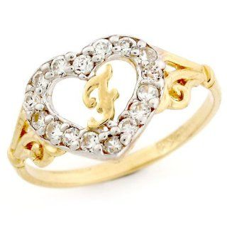 10k Gold Heart Shape Letter F Initial CZ Ring Jewelry