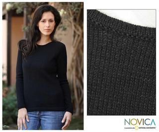 Womens Alpaca Wool Ebony Charm Sweater (Peru)