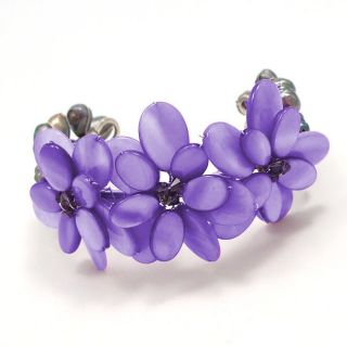 Genuine Purple MOP Shell Cluster Flower Cuff Bracelet (Thailand