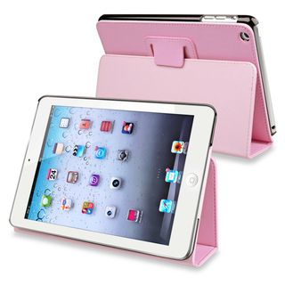 BasAcc Light Pink Snap on Leather Case with Stand for Apple iPad Mini
