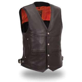 First Classics Mens Deep Pocket Black Naked Leather Vest