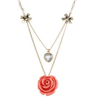 Betsey Johnson Cubic Zirconia Rose Petal 2 row Pendant Necklace