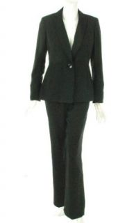 Kasper Womens Two Piece One Button Pant Suit, Black, 4 US