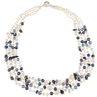 Blue and White Freshwater Pearl Multi strand Necklace (6 11 mm