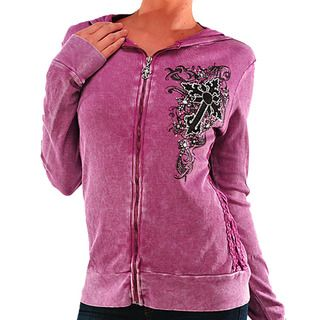 Vocal Womens Rhinestone Cross Accent Zip up Top