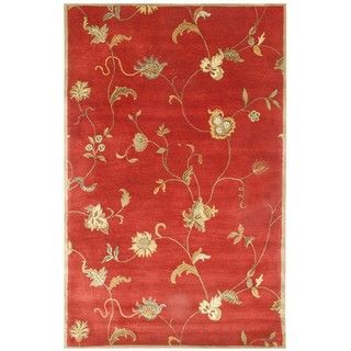 Hand tufted Diana Red Floral Wool Rug (8 x 11)