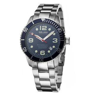 Golana Swiss Mens Aqua Pro 200 Blue Dial Stainless Steel Watch