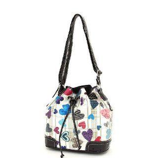Black & Multi Heart Print Drawstring Shoulder Handbag Shoes