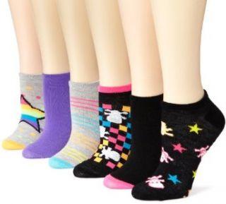 K. Bell Socks Womens 6 Pack Neon Skulls & Stars No Show