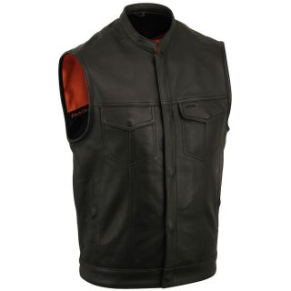 First Classics Mens Black Leather One Panel Concealment Vest