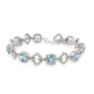 Glitzy Rocks Sterling Silver 8 CTW Blue Topaz and Diamond Accent
