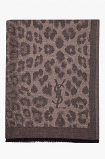 Yves Saint Laurent Dark Taupe Leopard Print Cashmere Stanley Scarf for men