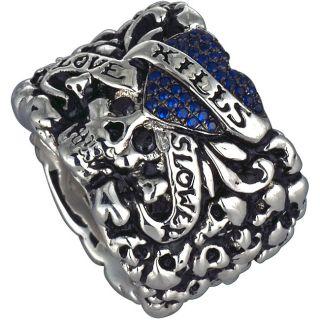 Ed Hardy Love Kills Slowly Silver Blue Cubic Zirconia Heart Ring