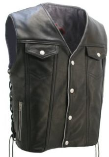 Mens Denim Style Leather Vest with Reflective Trim