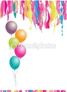 Happy birthday! Balloons and confetti. I  Stock Vector © Kudryashka