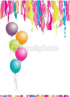 Happy birthday! Balloons and confetti. I  Stock Vector © Kudryashka