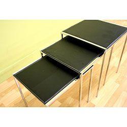 Modern Bonded Leather Nesting Tables (Set of 3)