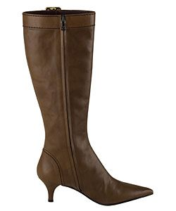 Prada Light Brown Leather Knee High Buckle Boots