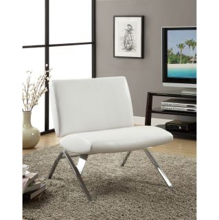 White Leather Look / Chrome Metal Modern Accent Chair