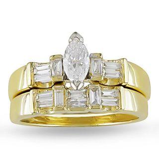 Miadora 14k Yellow Gold 3/4ct TDW Diamond Bridal Ring Set (G H, I1 I2