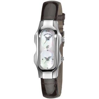 Philip Stein Teslar Womens Dual time Brown Strap Watch